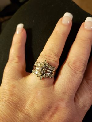 Beautiful sterling silver white sapphire wedding ring for Sale in Franklinton, NC