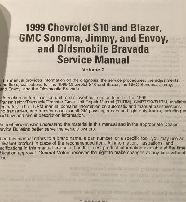1999 chevy blazer owners manual