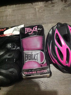 NEW!! Women's Kick boxing Gear set! Training Gloves, also Wrist Guards, Knee Pads and Elbow Pads! Also a bike helmet! Pink supporting breast cancer! for Sale in Houston, TX