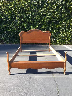 Vintage French Provincial Full Size Headboard Foot Board Side Rails Bed Frame for Sale in San Dimas, CA