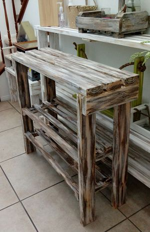 """32""""H X 36""""W X 12""""D (3 Planks) 🌱Solid Wood Entryway Console Table/Coffee Buffet/Shoe Rack with 2 Shelves ::: Rustic Distressed Havana Coffee/Cream for Sale in Las Vegas, NV"""
