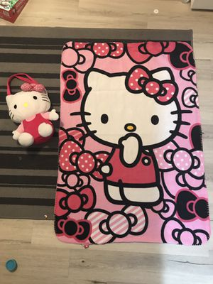Hello kitty backpack with fleece blanket for Sale in West Hills, CA