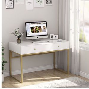Tribesigns Computer Desk, Modern Simple 47 inch Home Office Desk Study Table Writing Desk with 2 Storage Drawers, Makeup Vanity Console Table, White a for Sale in South El Monte, CA