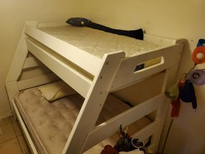 Solid wood twin over full bunk bed with mattress (avoid those wobbly cheap metal frames!) for Sale in Scottsdale, AZ