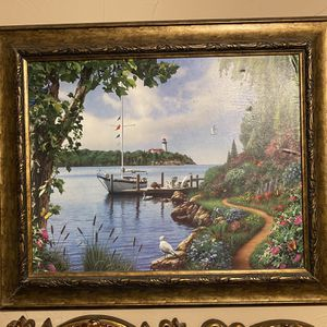 Beautiful Waterfront Painting with lighthouse in the background. Beautiful bronze colored frame. for Sale in Seagoville, TX