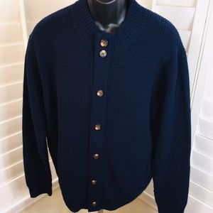 Peter Millar Premium Marled Wool Navy Button Up Cardigan Sweater - Men's Large - Brand New without Tags - MSRP $265.00 for Sale in Glendale, AZ