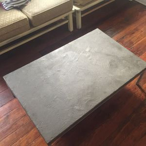 Cement coffee table metal silver legs short style for Sale in Philadelphia, PA