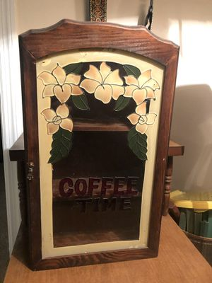 Vintage 1970's Table/Wall Wooden Cabinet with Stain Glass Front Door of Flowers and Coffee Time with 6 Vintage Ceramic/Stoneware Coffee Mugs for Sale in Columbus, GA