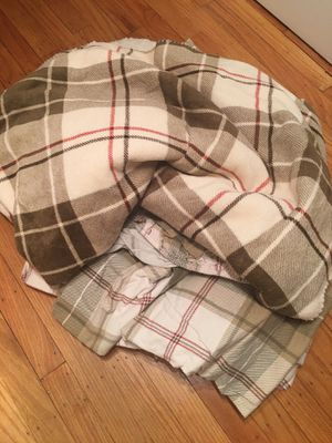 Queen Set of Flannel Bedding with a Matching Faux Shearling Lined Throw for Sale in Springfield, PA