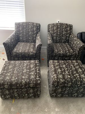 2 Arm chairs with 2 ottoman for Sale in Charlottesville, VA
