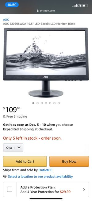 AOC 19.5 inch computer monitor for Sale in Reading, PA