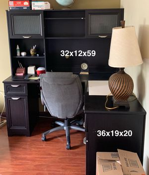 3-Pieces Office Desk and Hutch (Dark Brown-Black ) 5-Drawers for Sale in Montebello, CA