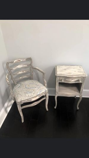 Custom Vintage / Antique Chair and Nightstand for Sale in Hyattsville, MD