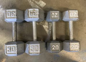 Workout Hex Dumbbells 2x30lbs & 2x20lbs Weights Set for Sale in Happy Valley, OR