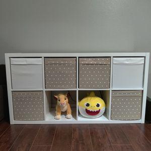 High Gloss White Shelf Plus 6 Cloth Storage Boxes for Sale in Missouri City, TX