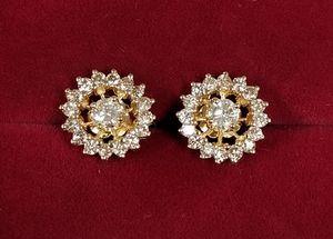 14k Yellow Gold Diamond Stud Earrings w/ Halo Diamond Jackets for Sale in Hemet, CA