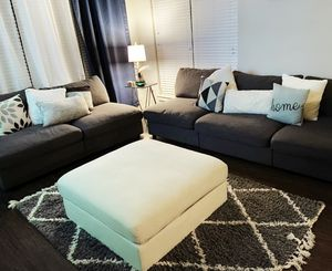 Sectional couch including beige ottoman for Sale in Fort Worth, TX