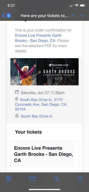 Garth brooks drive in Concert for Sale in Poway, CA