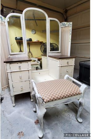 Vanity with mirror chair refinished white for Sale in Cedar Hill, TX