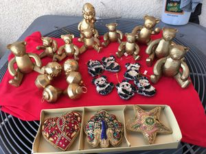 Christmas Golden teddy bears and hanging ornaments for Sale in Chula Vista, CA
