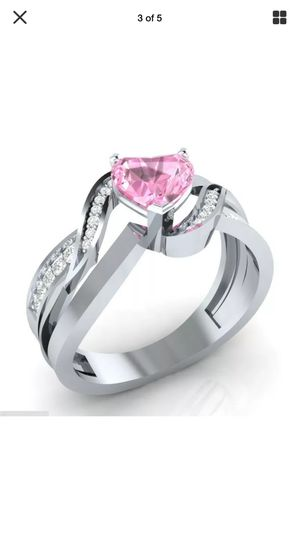 Pink heart ring gemstone on .925 sterling silver band sz7 for Sale in Northfield, OH
