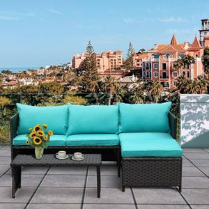 3-Piece Outdoor Patio Wicker Conversation Loveseat Sofa PE Rattan Furniture Set Turquoise Cushion for Sale in Plandome, NY