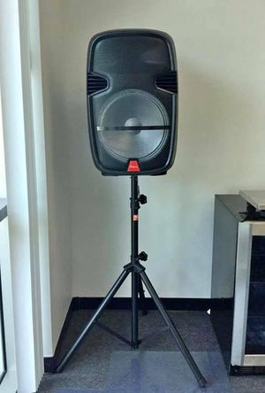 "Portable YLT 15"" Bluetooth Speaker with Microphone and Stand Radio/AUX/USB for Sale in Chino, CA"