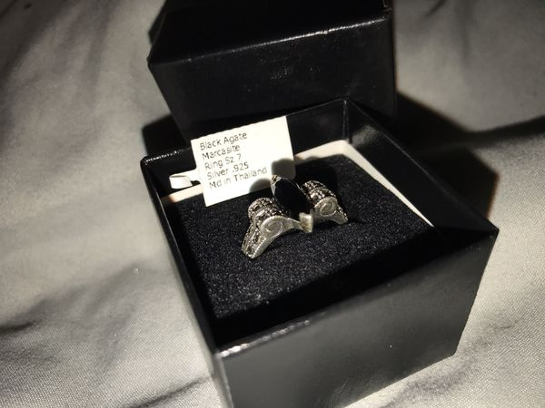 Sterling Silver Black Agate Marcasite Ring
