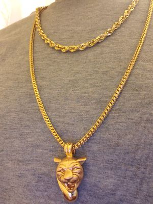 10k Gold chains with 14k Panther head Pendant for Sale in Laurel, MD