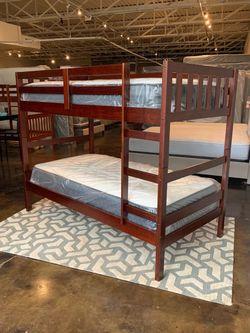 Twin Over Twin Espresso Bunk Bed & Brand New Plush Mattress Free Delivery for Sale in Dallas,  TX