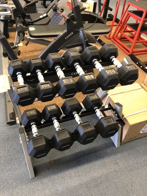 New Weider rubber hex dumbbell set with rack for Sale in Renton, WA