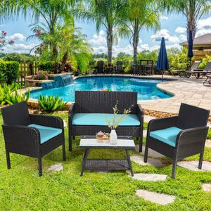 Black Rattan Patio Set Conversation Sets Outdoor Sofa Chairs Table Furniture for Sale in Sacramento, CA