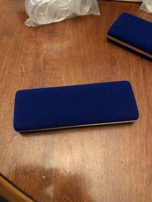 Blue felt 3 coin box / plastic cases for Sale in Plainfield, IL