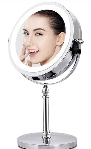 Vanity Mirror with Light, Makeup Mirror 10X Magnification Lighted Tabletop Magnifying Mirror,Double Sided, 360 Rotation, Polished Chrome Finish for Sale in Queens, NY