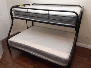 New twin over full bunked bed and mattresses included for Sale in Pompano Beach, FL