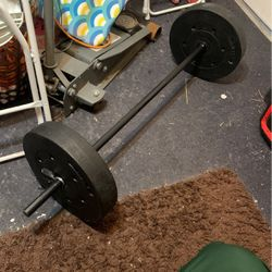 Barbell Curl Bar With Weights for Sale in Perris,  CA