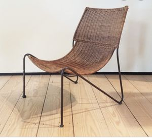 MID CENTURY MODERN WICKER AND IRON LOUNGE CHAIR BY FREDERICK WEINBERG for Sale in Wilton Manors, FL