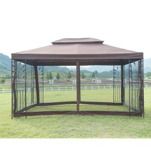 Free delivery - Outdoor Patio Table Metal Gazebo Bug Netting Screen Walls Steel Frame Vented Garden Canopy Backyard Sun Shed Shade for Sale in Las Vegas, NV
