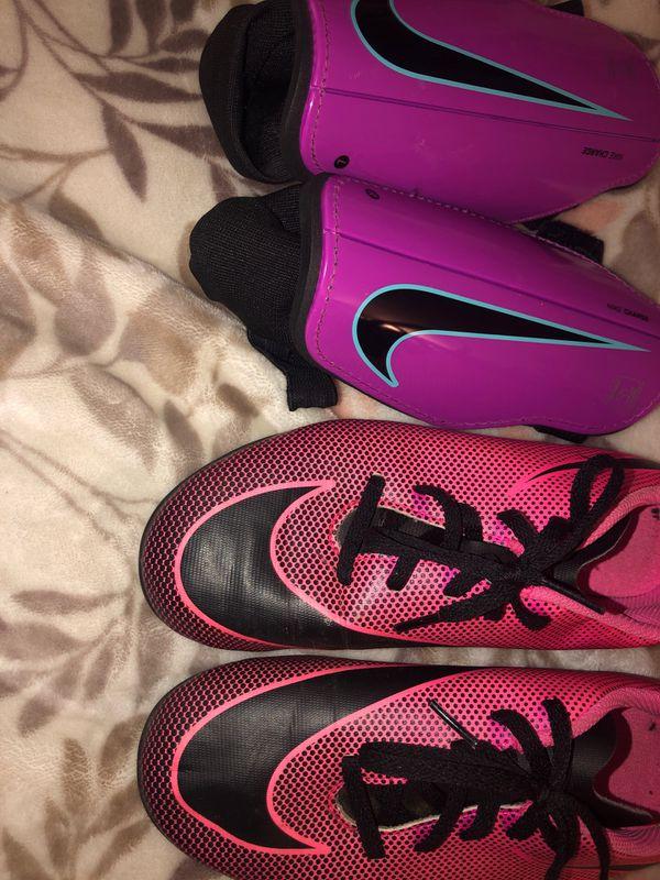 Nike Girls Soccer Cleats & Shin Guards.