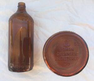 2 antique Roman Bleach amber bottles for Sale in La Salle, MI