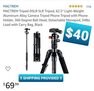 "MACTREM Tripod DSLR SLR Tripod, 62.5"" Light-Weight Aluminum Alloy Camera Tripod for Sale in Chino, CA"