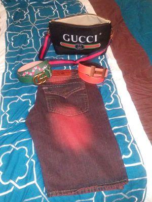 Blk Gucci Leather Belt Bag; Green Gucci GG Kingsnake Belt ; Reverseable Orange/Black Hermès Belt ; Maroon Tru Religion Shorts Sz.36 for Sale in Houston, TX