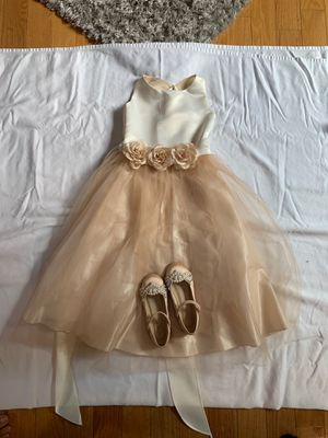 Flower girl bronze/rose gold colored girls dress. (Used once) for Sale in Millbury, MA