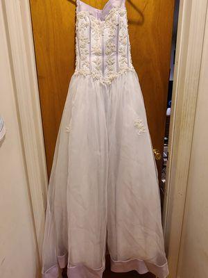 Cinderella White Pink Beaded Sweet 16 Prom Quince Dress. SIZE 6 for Sale in Larchmont, NY