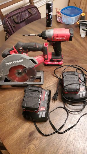 Craftsman Impact Drill and Craftsman Circular Saw w/ 3 Batteries & 2 Charging stations for Sale in Greensboro, NC