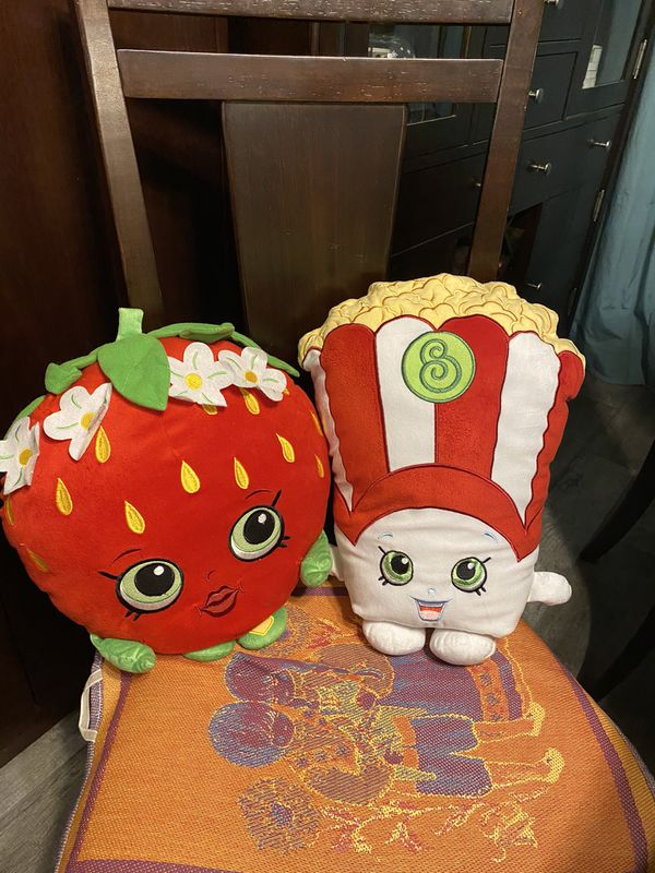 """Shopkins Poppy Corn and Strawberry Kiss 16"""" large plush, $20 for BOTH"""