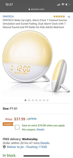 FIMITECH Wake Up Light, Alarm Clock 7 Colored Sunrise Simulation and Sunset Fading, Dual Alarm Clock with 7 Natural Sound and FM Radio for Kids Adult for Sale in Queens, NY
