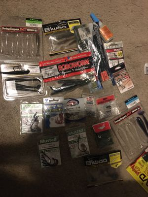 Assortment Bass fishing plastics/lures +hooks/jig heads for Sale in Goodyear, AZ