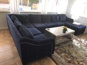 Blue navy couch washable cushions custom for Sale in Brentwood, CA