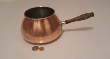 """Vintage Metal Copper and Brass Pot with Wooden Handle, Made in Portugal, 11"""" Long and 6"""" x 3 1/2"""" Pot Size, Cooking, Kitchen Decor, Shelf Display for Sale in Lakeside,  CA"""